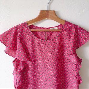 Anthropologie Meadow Rue Pink Flutter Sleeve Top